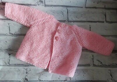 Hand Knitted - Cardigan - Pink - 6-9 Months
