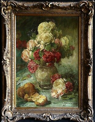 GEORGES JEANNIN (1841-1925) LARGE FRENCH OIL STILL LIFE ROSES to £49,000 SIGNED