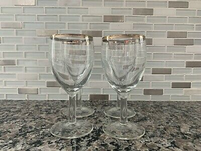 Set of 4 Vintage Silver Rimmed Cordial Glasses Small Wine MCM 4 ounce EUC