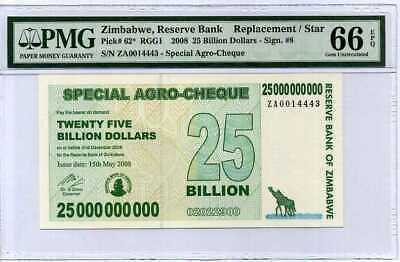 Zimbabwe 25 Billion Dollars Agro 2008 Za P 62 * Replacement Gem Unc Pmg 66 Epq