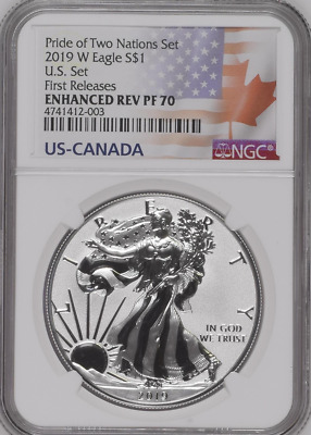 2019 W $1 Enhanced Reverse Proof Ngc Pf70 Silver Eagle Pride Of Two Nations
