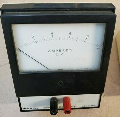 DC Amperes Simpson Electric Company Analog Volt Meter 0-10 Panel Meter DC Amps