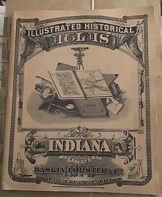 1876 Illustrated Historical Atlas Indiana All Counties Maps 1968 Reprint