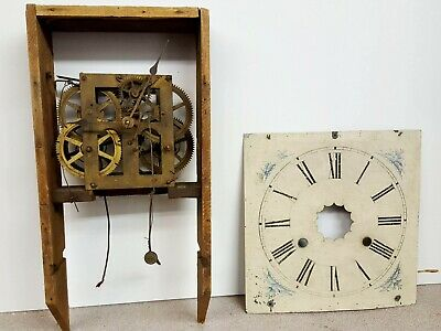 Antique weight driven american O.G. wall clock  movement and dial