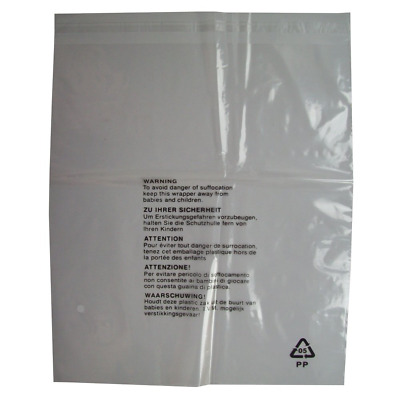 100 Clear Transparent Plastic Self Seal Garment Clothing Retail Packaging Bags -