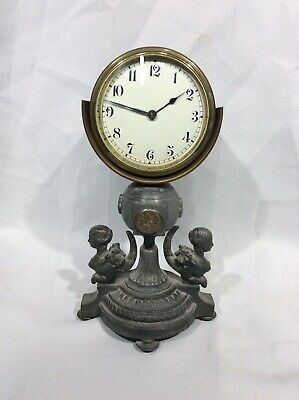 Unusual Vintage Buren Swiss Figural Mantel Clock For Project Spare Or Repairs