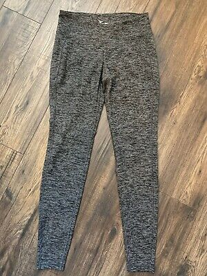 Ladies Old Navy Active Medium Gray Black Striped Leggings Fitted Yoga Waistband