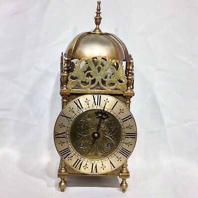 Interesting Antique Brass STRIKING Lantern Clock : Strikes Hours & Half Past