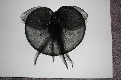 Black half moon Fascinator with feathers and beads