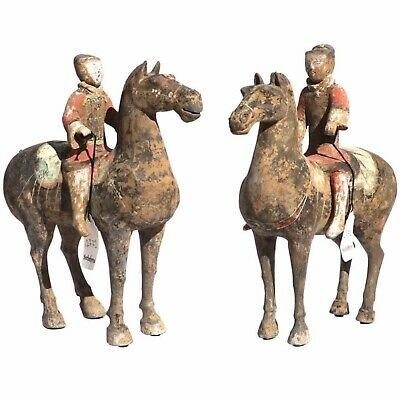 Pair of Han Dynasty Pottery Horse and Equestrian Riders