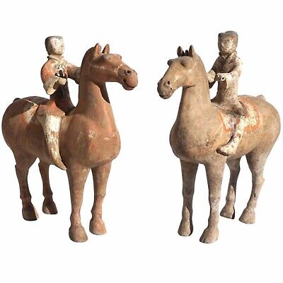 Pair of Han Dynasty Pottery Horses and Equestrian Riders
