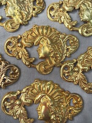 4 Art Nouveau Corner Stampings Ox Silver Plated Brass 1222so4