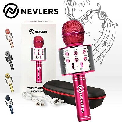 Nevlers Karaoke Microphone w/Wireless Bluetooth Speaker & Recording Option- PINK