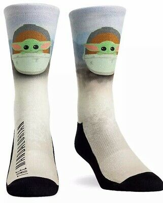 Disney Parks Star Wars Baby Yoda The Child Mandalorian Adult Large XL Socks NEW