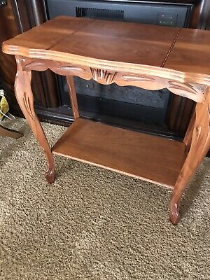 "Vintage Italian Marquetry Inlaid Wood Top End Table 23"" W"