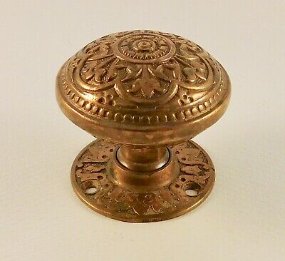 Antique cast bronze brass Corbin victorian J-20300 door knob & vintage rosette