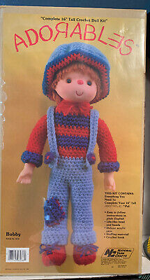 "Adorable's Bobby Complete 16"" tall Crochet Doll Kit Vintage 1980"