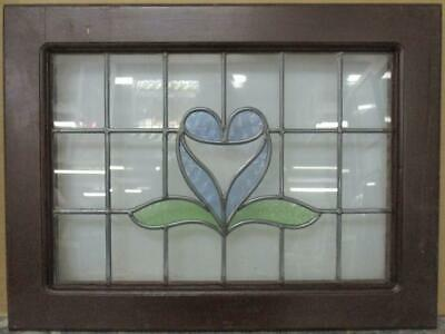 "MIDSIZE OLD ENGLISH LEADED STAINED GLASS WINDOW Abstract Heart 24.5"" x 18.5"""