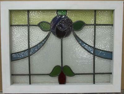 "OLD ENGLISH LEADED STAINED GLASS WINDOW TRANSOM Mackintosh Rose 24.75"" x 18.75"""