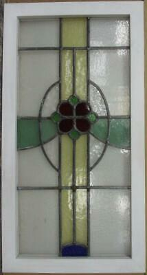 "LARGE OLD ENGLISH LEADED STAINED GLASS WINDOW Nice Floral Sweep 17.75"" x 33.75"""