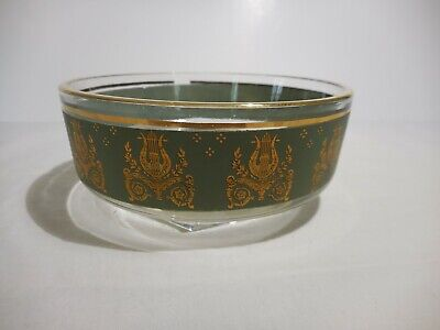 """Jeannette Glass Laurel & Lyre Gold on Green Small Dish Pattern 701-25  4 1/2"""""""