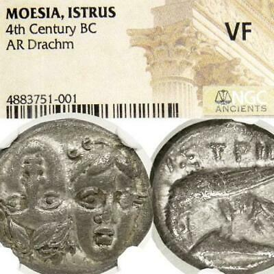 2 Facing Male Heads Eagle DOLPHIN NGC VF Istros Thrace Ancient Greek Silver Coin