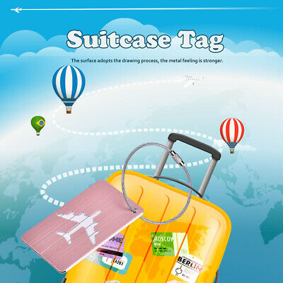 5Pcs Aluminum Alloy Baggage Luggage Suitcase Tag Address ID Identity Card Travel