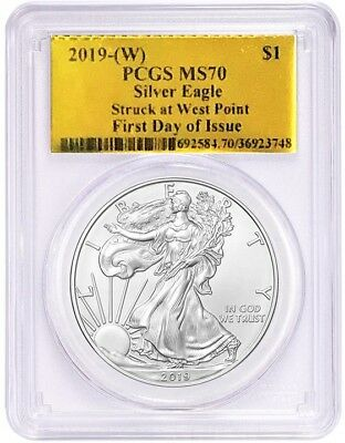 2019-(W) $1 1oz Silver Eagle MS70 PCGS Struck at West Point FDOI Gold Foil