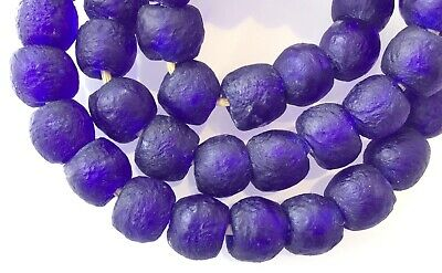 Ghana Round Cobalt Blue handmade Recycled glass African trade beads-Ghana
