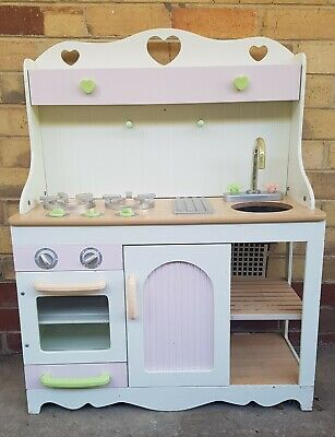Toy Wooden Play Kitchen white and pink