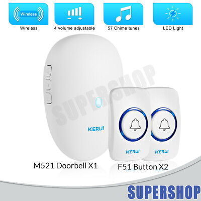 Home Portable Wireless Door Bell 57 Chimes With  Plug in Receivers +Transmitter