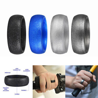 Women Men Glitter Rings Silicone Rubber Wedding Band Ring Comfortable Flexible