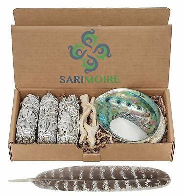 Sage Smudge Kit - White Sage Smudge Sticks - 4in ~ Abalone Shell 5-6in ~ NEW