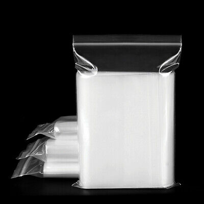 100PCS Clear Zip Lock Bags Plastic Storage Resealable Seal Polythene Bags
