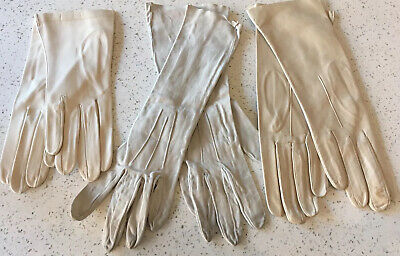 Three pairs Of Vintage Cream Ladies Gloves Dents Suede And Leather Gloves