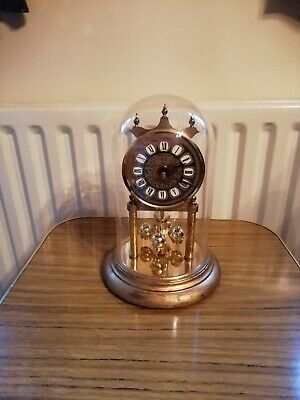 Vintage Anniversary West German Clock with glass dome