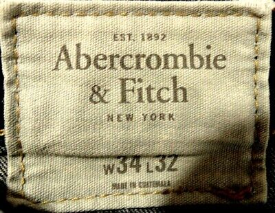 """""""Abercrombie & Fitch"""" Beautifully Faded,Shaded Stretch Denim Jeans  34"""" X 32""""L"""
