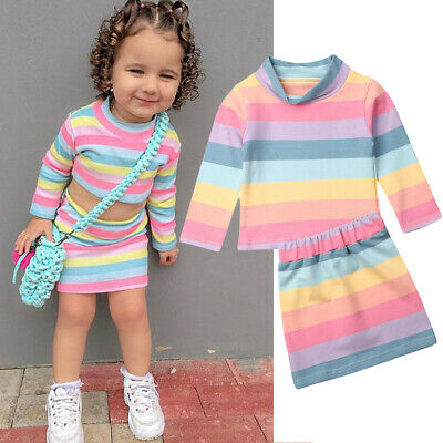 Kids Baby Girl Toddler T-shirt Tops+Skirt rainbow Dress 2PCS Set Outfits Clothes