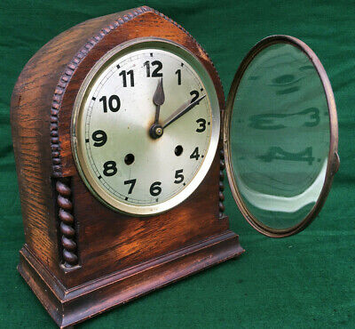 Antique Art Deco Oak Barley Twist Gothic Mantle Shelf Clock 1930s 40s
