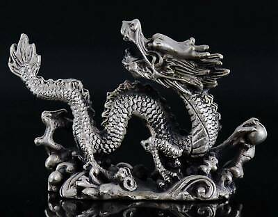Collectable Old Tibet Silver Hand Carve Roar Dragon Exorcism Bring Lucky Statue