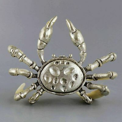 Collectable Old Tibet Silver Inlay Wolf Tooth Carved Strong Crab Delicate Statue