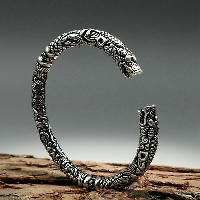 Collectable China Old Miao Silver Hand-Carved Myth Dragon Head Delicate Bracelet