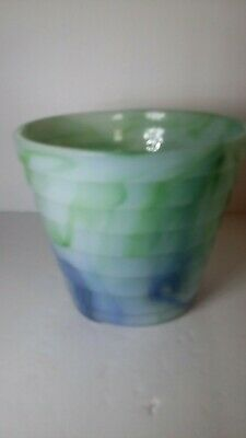 """Akro agate stacked disc flower pot 4"""" no chips"""