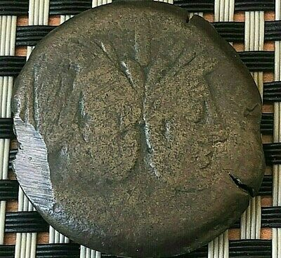 Large Roman Republic Coin Ae33 As After 211 Bc Double Head Of Janus And Warship.