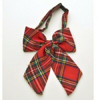 Tartan Bow Tie Womans Scottish Red Burns Night Fancy Dress Novelty  Accessory