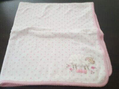 Carters Little Lamb Cotton Swaddle Baby Blanket Grey Cream White Sheep Lovey