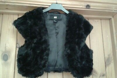 Girls H&M Black Furry Bolero Jacket Age 12-13 Years, BNWOT!!