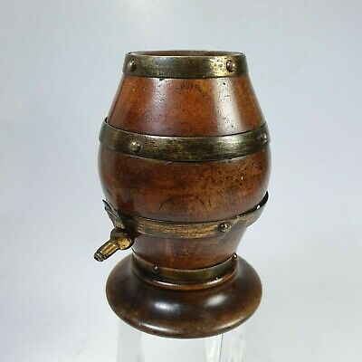Antique Treen & Brass 19th Century Barrel String Box