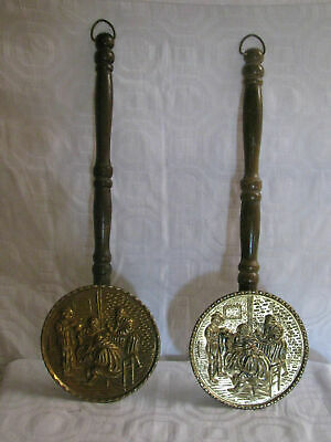 Vtg Brass&Wood Plant Hanger-Wall Pocket-Bed Warmers-Plates-Made England-People