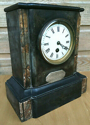Antique UAOD Marble Bevel Cut Glass Mantle Shelf Clock Ancient Order Druids 1891